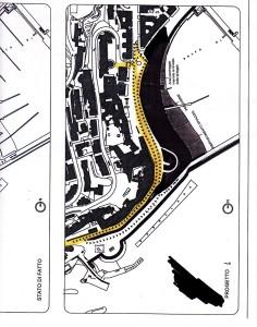 Uno dei progetti di chiusura. In giallo, il percorso obbligato dei veicoli. La strada costiera è inibita al traffico.