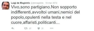 tweet dema_10 Vivo, sono partigiano