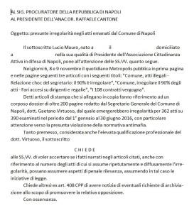 L'esposto presentato da CA in difesa di Napoli