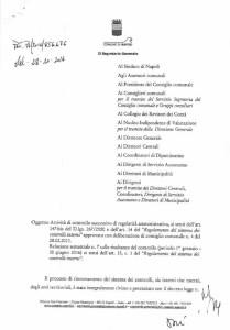 La prima pagina della relazione del dr. Virtuoso, Segretario Comunale
